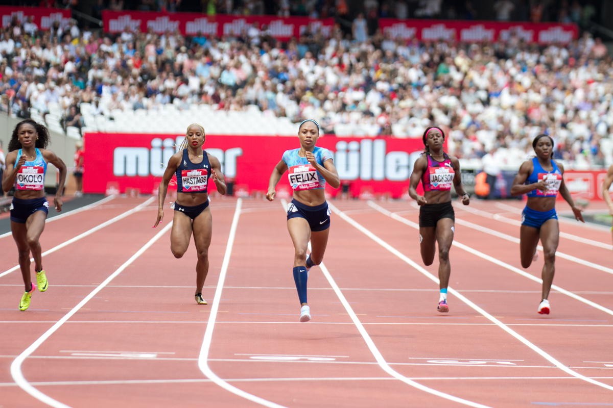 Allyson Felix runs the fastest 400-meter in the world this year at the Muller Anniversy Games  by Lensi Photography
